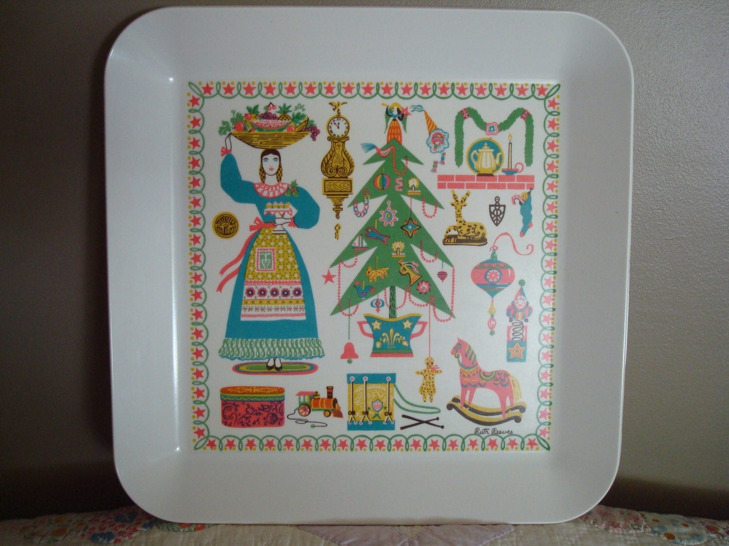 Christmas Decor Mid Century Modern Decor Christmas Tree Vintage Tray Melmac Christmas Ruth Reeves Signed 1954