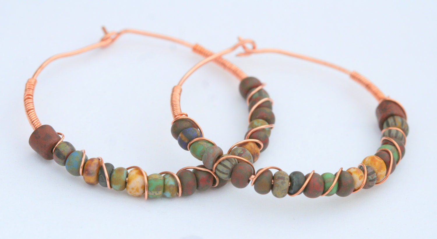 Copper Wire Wrapped Hoop Earrings with Glass Beads - LesleyPridgen