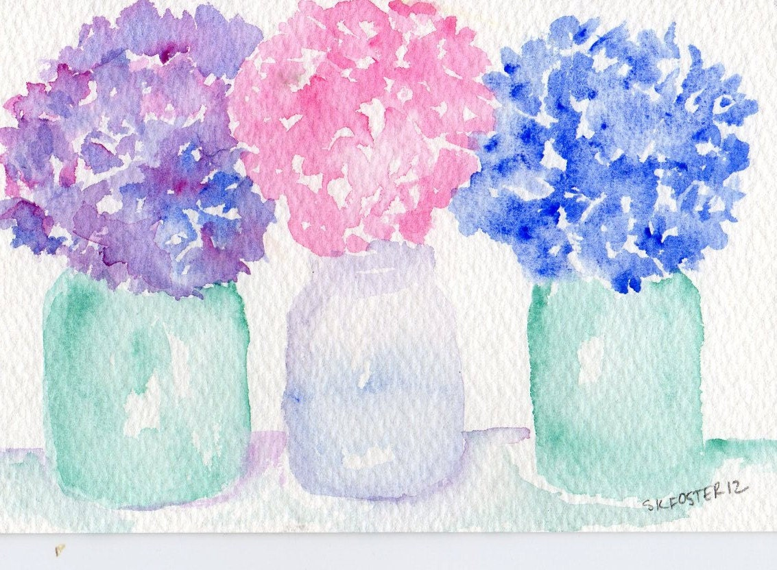 Original Hydrangeas Purple, Blue and pink in Blue Ball aka  Mason Jars watercolor painting