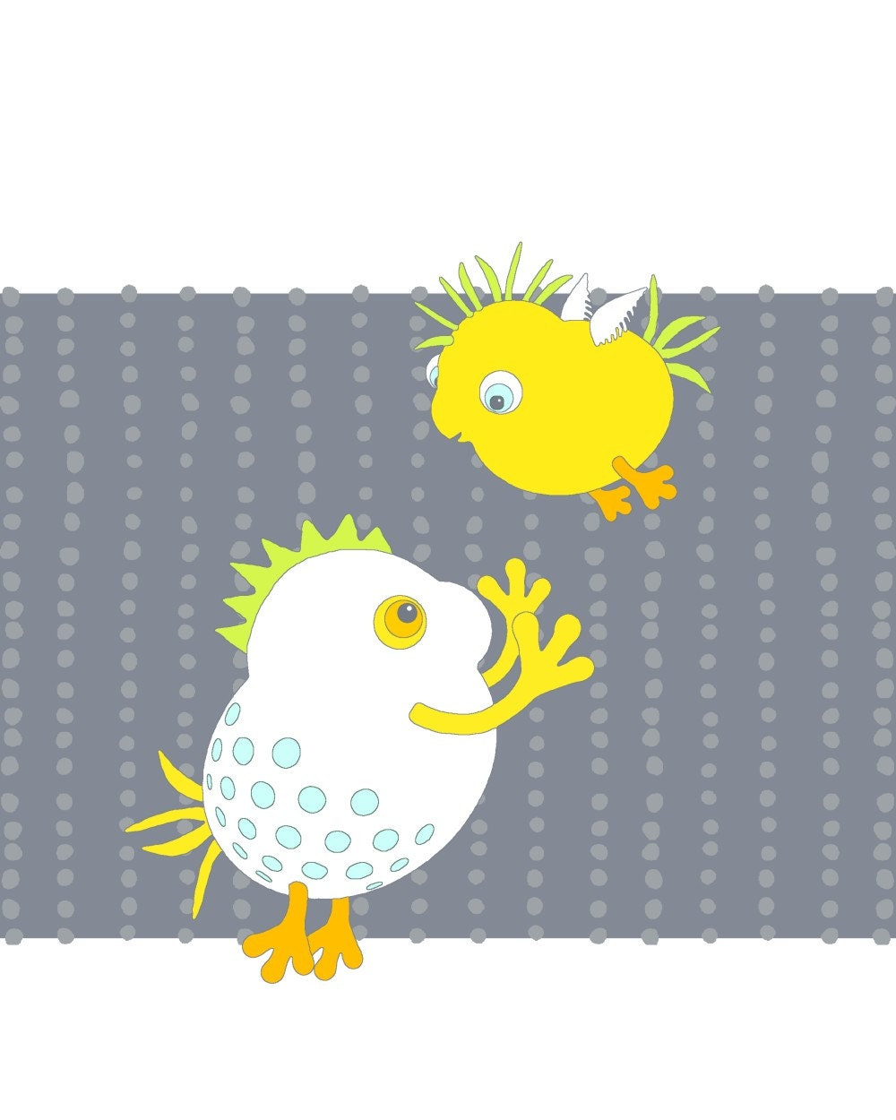 Cute monster mother and child, nursery wall decor, children's art, digital illustration, bird, gray, yellow, 65 (I Can Fly)