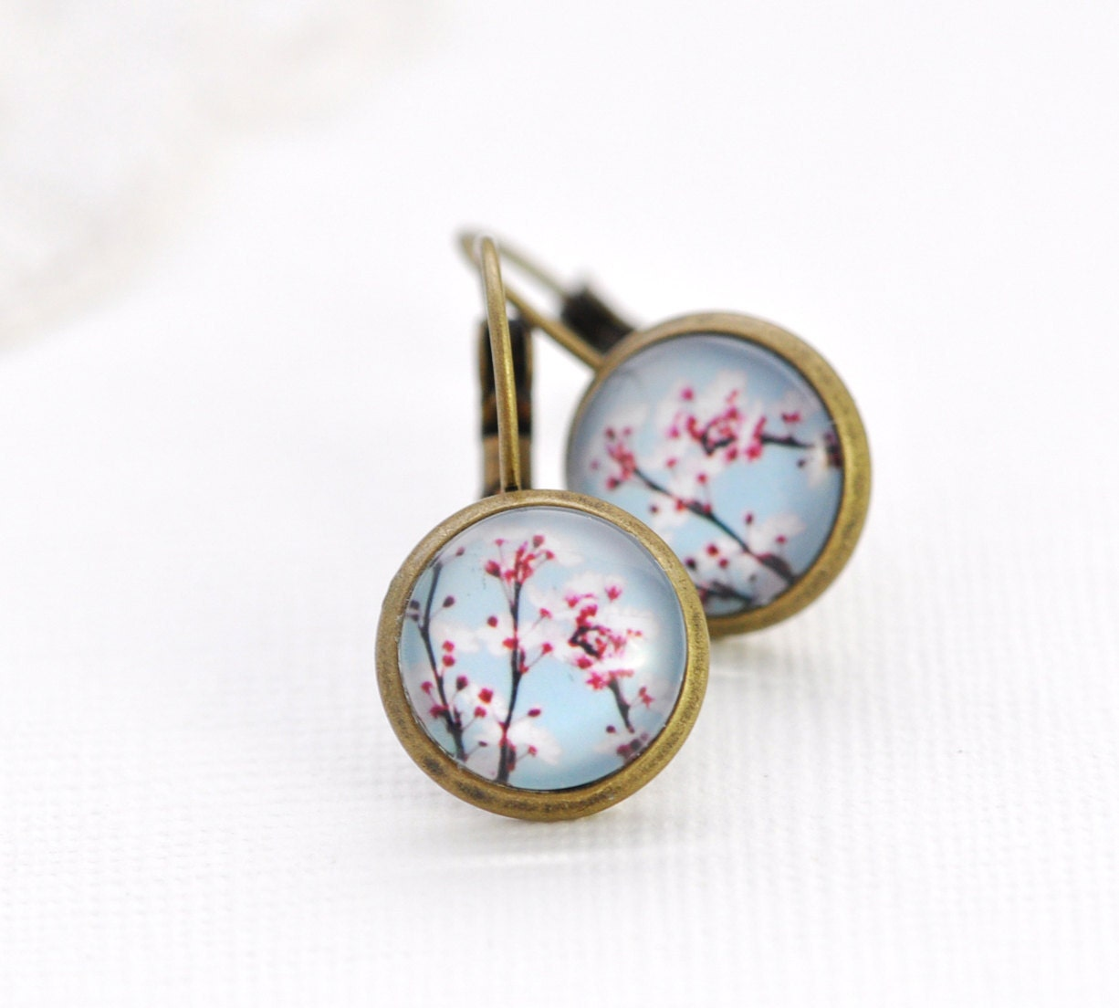 Cherry Blossoms Earrings Wearable Photo Art Vintage Inspired - Shabby Chic- Pink and Blue