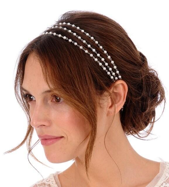 145 VIOLA Headband bridal pearl bohemian wedding tiara head piece