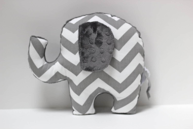 Chevron Elephant nursery pillow toy ELLE gray plush for modern baby - LilKingdom