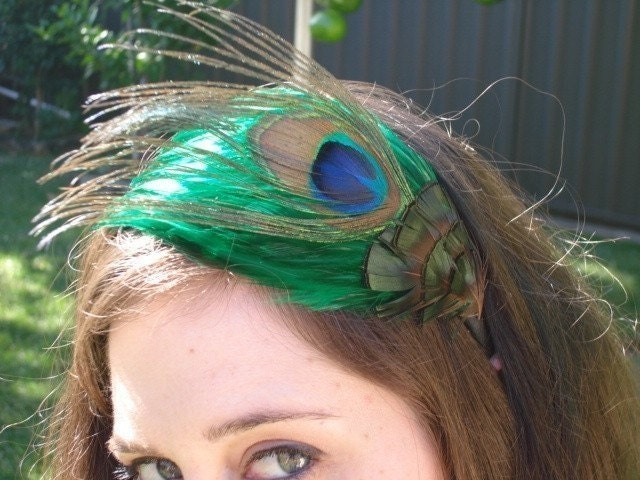Peacock feather fascinator with emerald green feathers - Peacock Collection Style 035