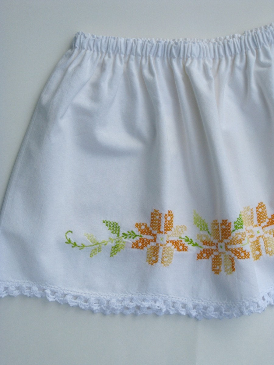Eco Toddler Skirt Flour Sack Flowers Custom Size