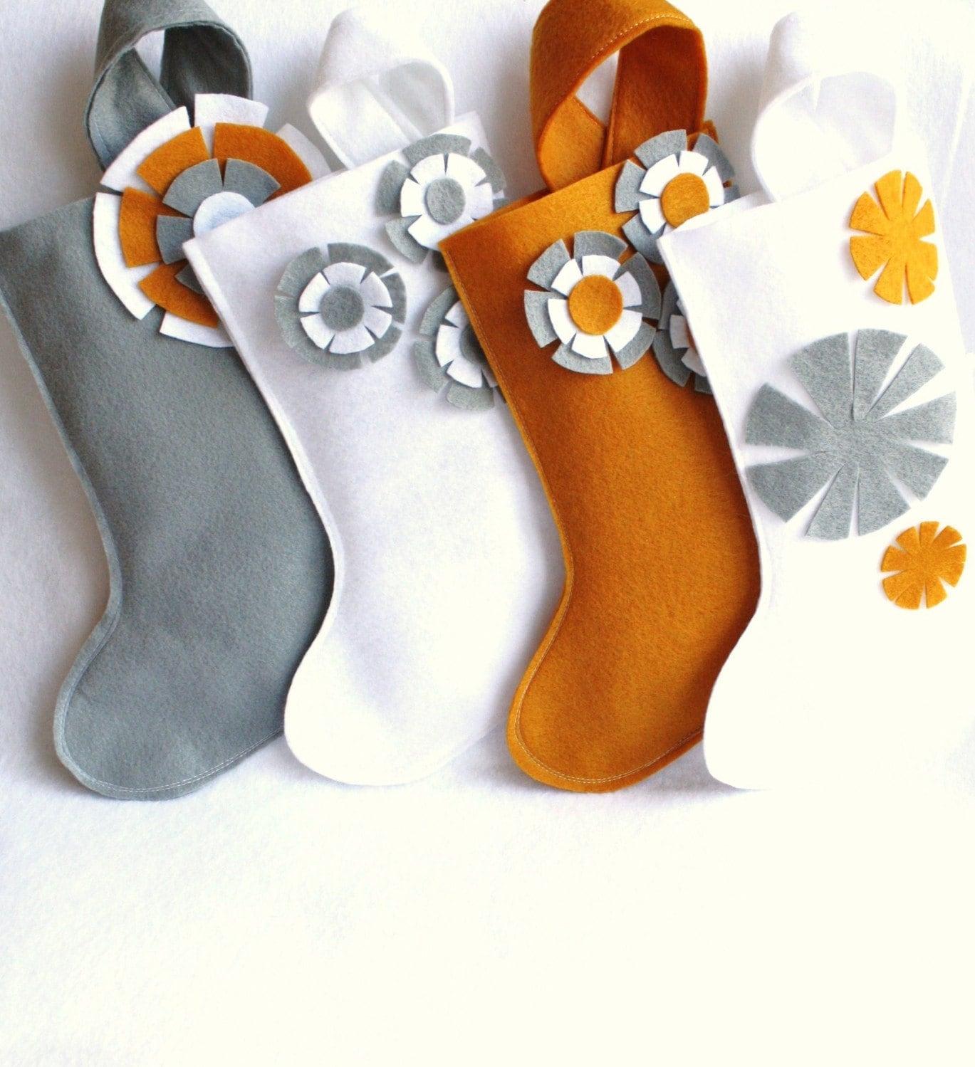 Christmas stocking in gray / grey , gold or white eco friendly felt