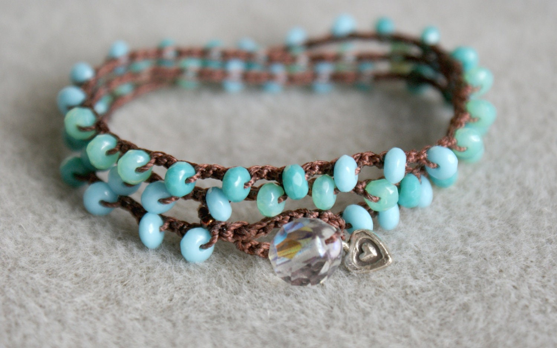 Blue Turquoise Bohemian wrap bracelet, necklace, anklet, crochet jewelry, beachy jewelry, 3x wrap, crochet beaded, Sterling silver heart - OlenaDesigns