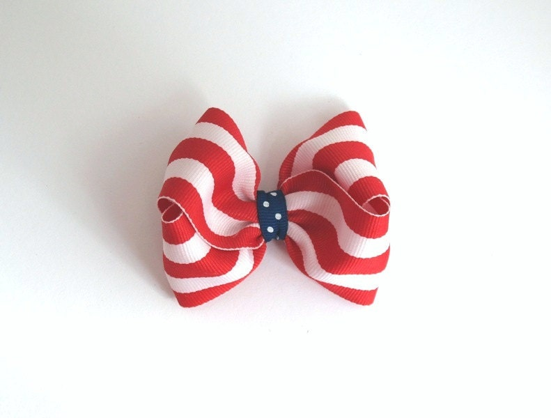 Patriotic Bow Red White Blue Girls 3 inch Hair Bow Clip - PinkLemonadeDuxbury