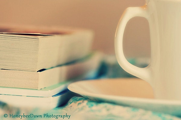 Books and Tea Print Still Life Fine Art Photography 8x12 Romantic Cottage Decor Teal Cream - HoneybeeDawn