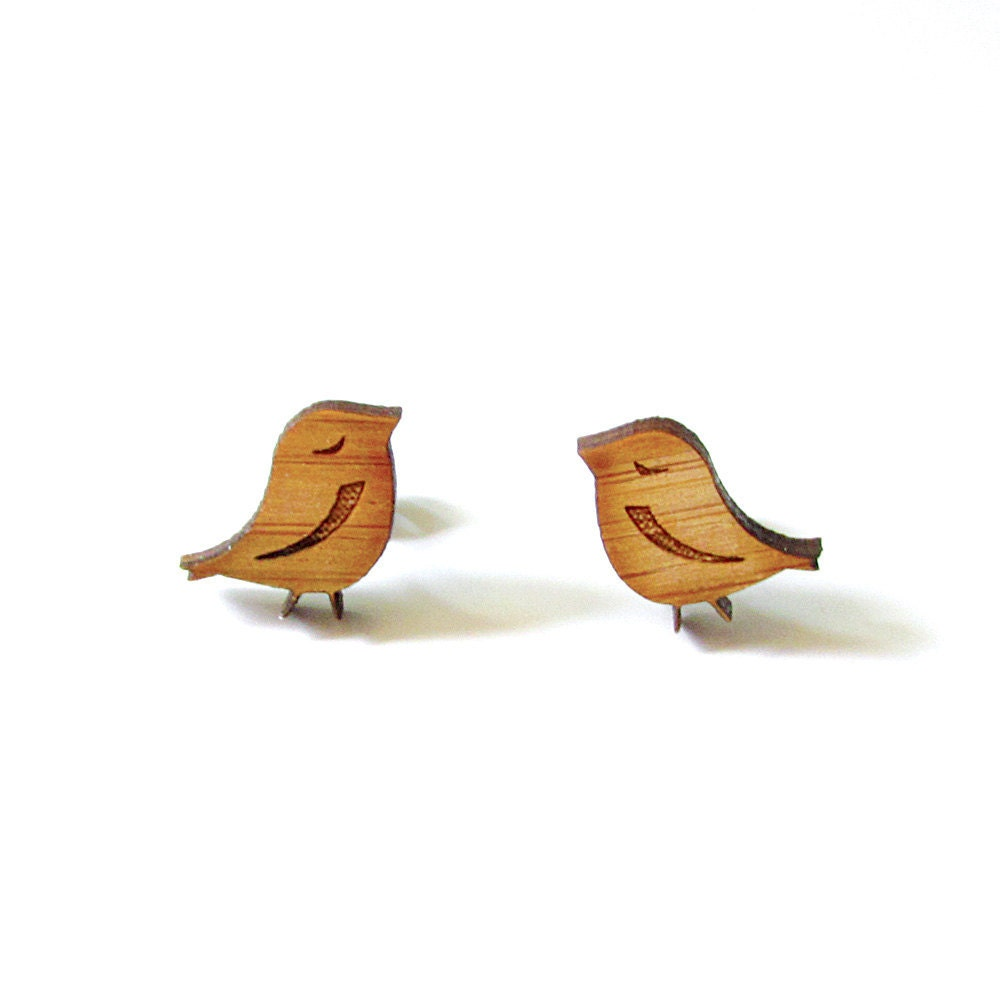 Little Birds - Bamboo Wood Earrings - Laser cut - Stud - Cute - Cabin