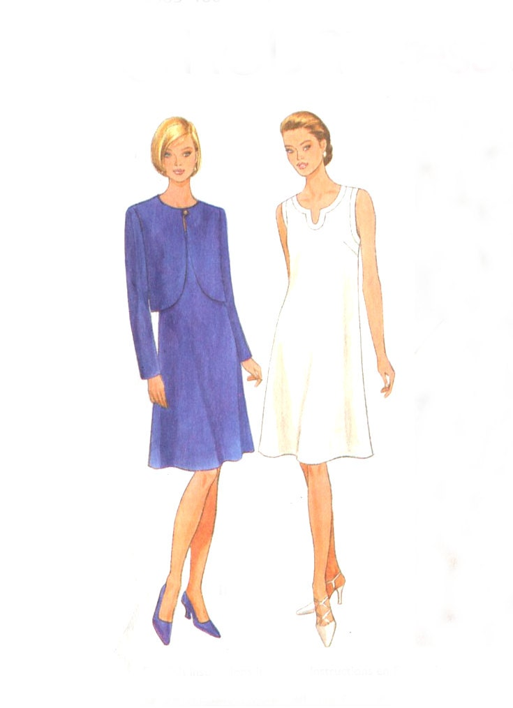 Simplicity 7049 Two Hour Dress & Jacket Pattern - Neck Detail - Size 12-14-16 Uncut - treazureddesignz