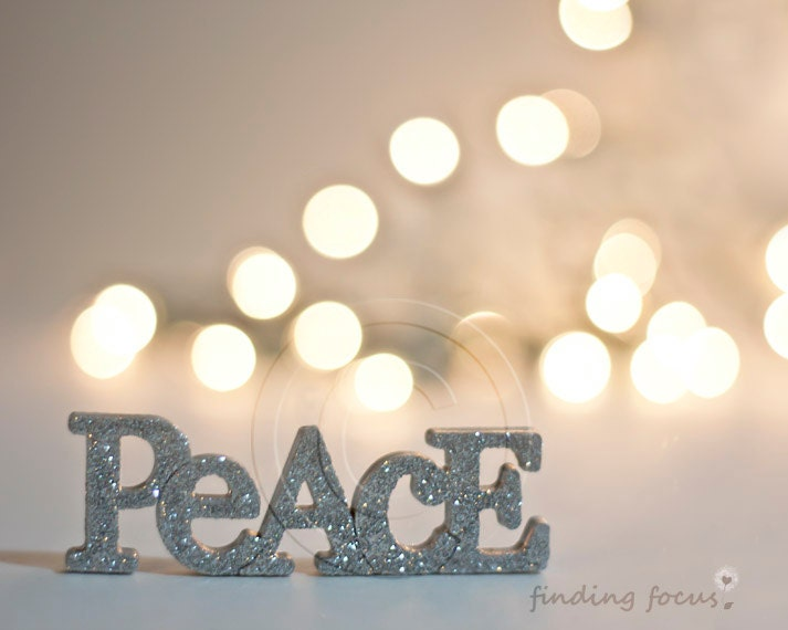 Peace Photo, Silver Gold Natural Pale Decor, Golden Beige Champagne Holiday Lights Bokeh Silvery Glitter Word Art, 8x10 Neutral Photography - findingfocus