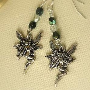 Green Fairy Earrings - Wire Wrapped -Fairy Earrings - Absinthe Green - Sterling Silver Fairy Jewelry
