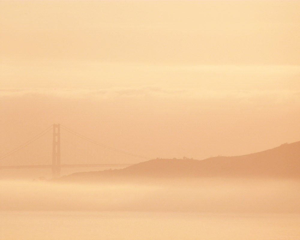8x10 - Bay Sunset - Golden Gate Bridge Wall Art, San Francisco Photo Art Print, El Cerrito, Dusk, Wall Decor, Dreamy Fog, Peach Tangerine - 9thCycleStudios