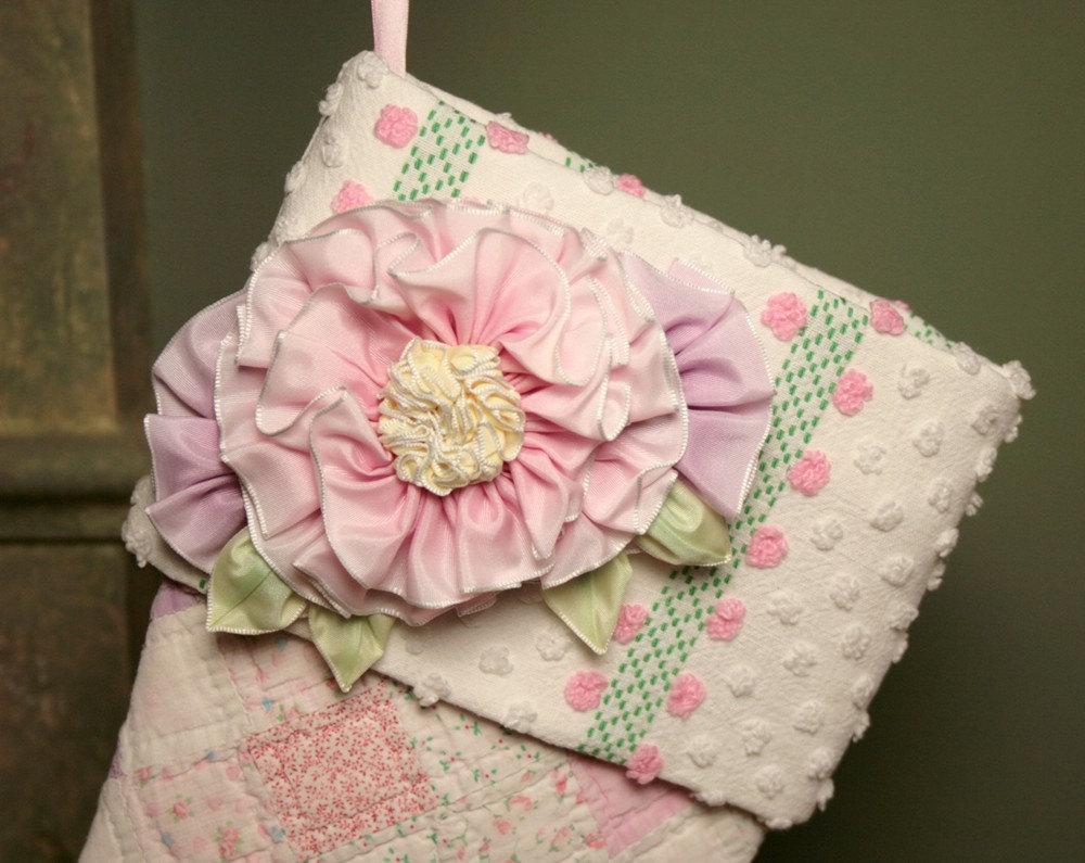 Sweet Pink Почтовые Розы Stamp Античный Одеяло Рождества чулок с Vintage манжеты синель и Дамских Цветы