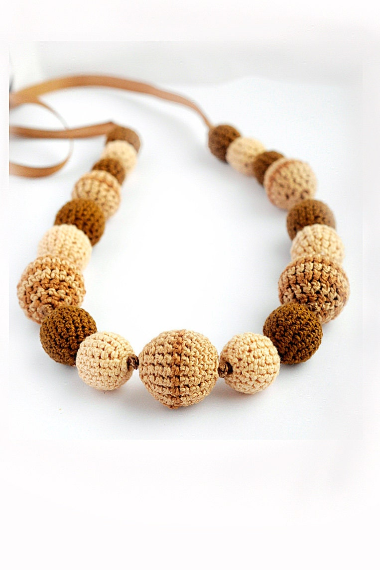 boho style -  teething necklace - breastfeeding necklace - nursing necklace - brown jewelry - summer - crochet - Almami