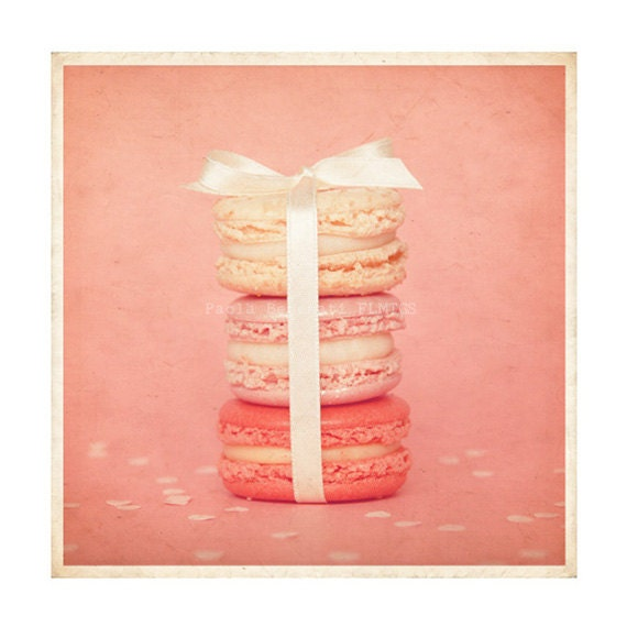 10x10 size. French macarons pastel pink. Home decor. - filamentoTGS
