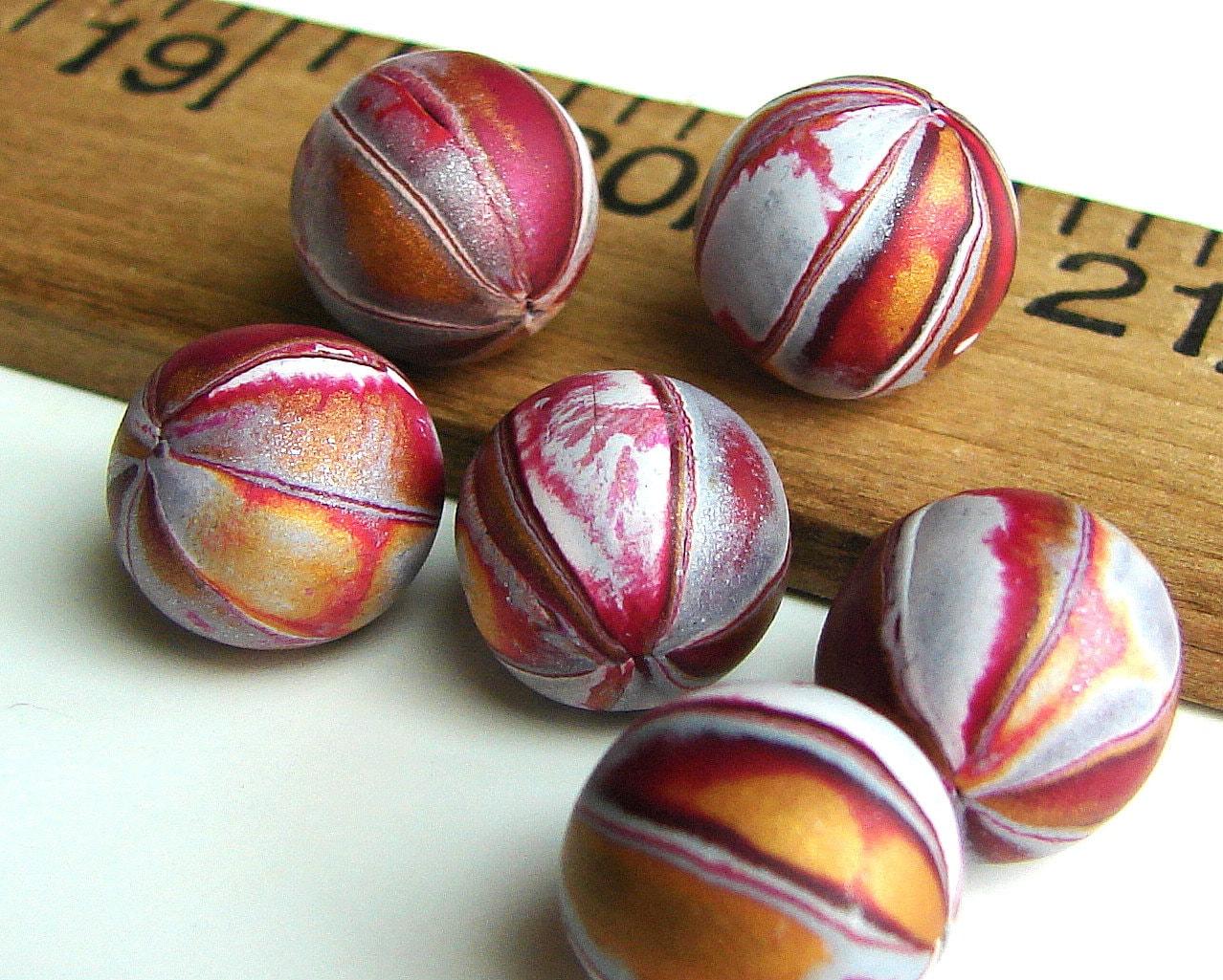 Handmade Polymer Clay Round Beads - Erosion