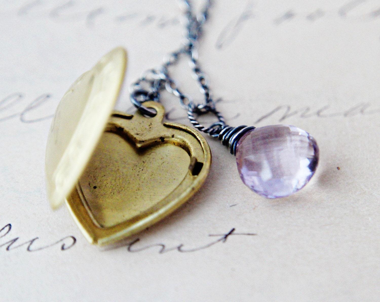 Rosa Ametista Coração Colar Locket Latão Charme Sterling Silver Valentines Segredo Moda Menos de 50 Valentine