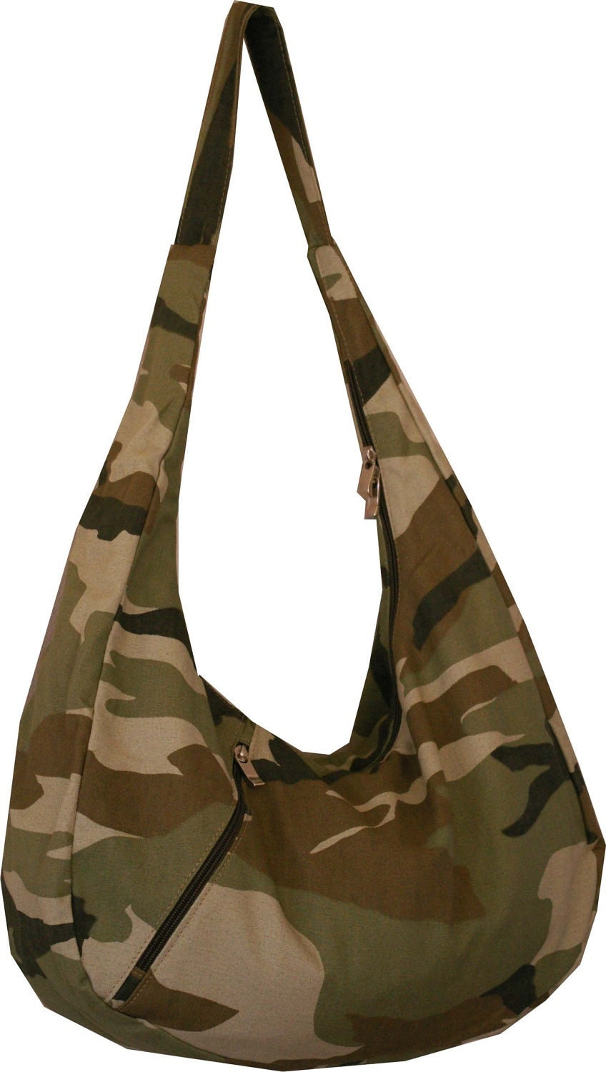 One of a Kind Carolina Stefano handmade purse, army print - Green.