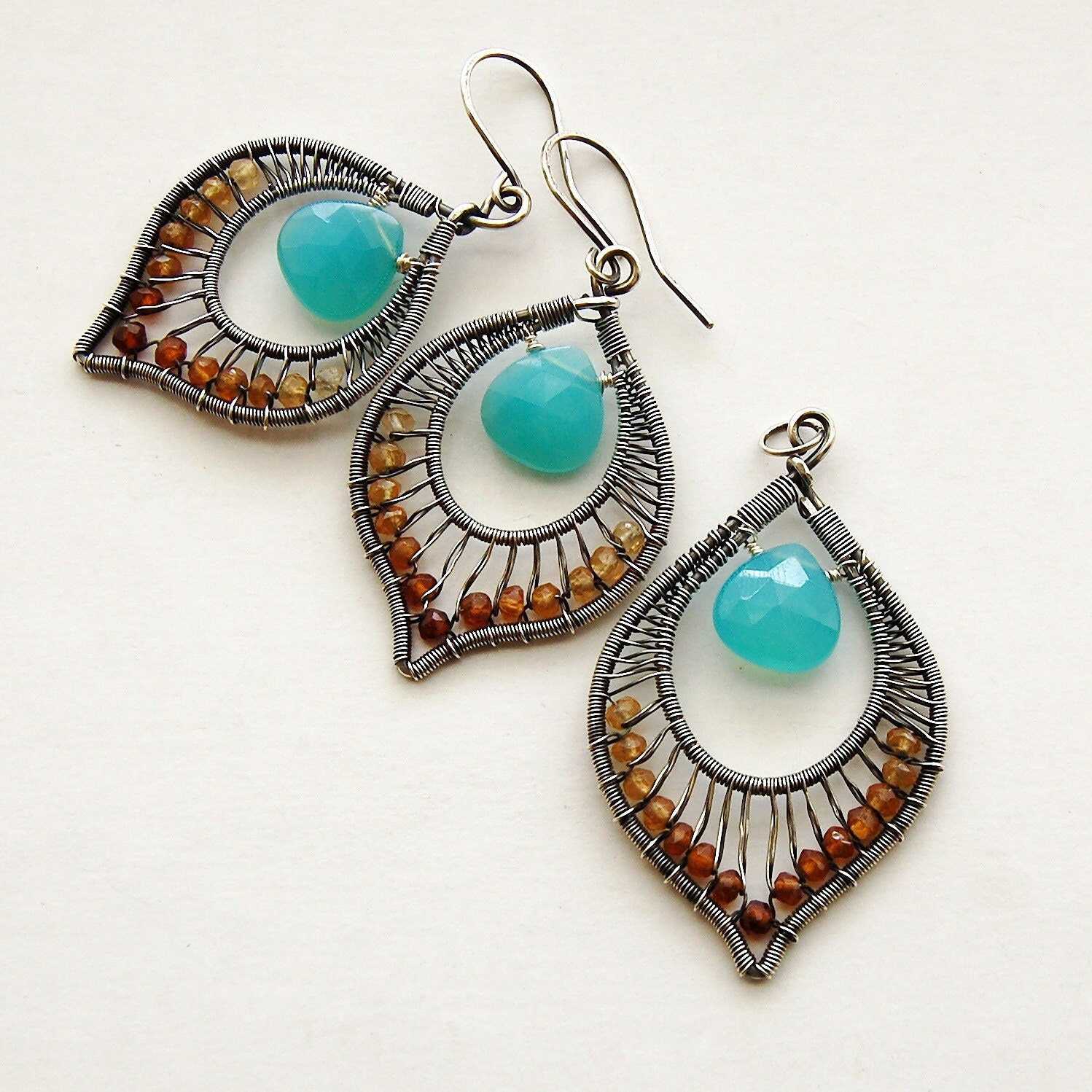 AAA Peruvian Blue Chalcedony and Hessonite Garnet Wire Wrapped Earrings and Pendant Set in Silver