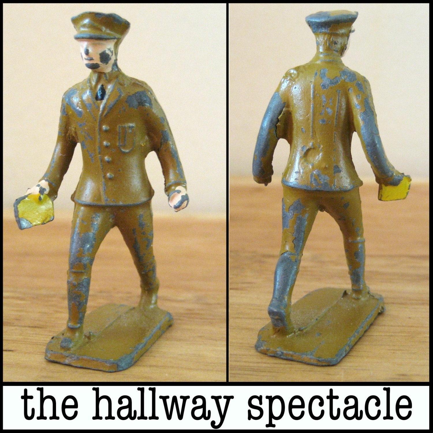 Vintage Lincoln Logs Military Man Lead Figurine Toy Figure Officer army american - TheHallwaySpectacle