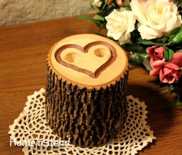 Rustic Wedding Guest Book Pen Holder Table Center Piece Heart Custom