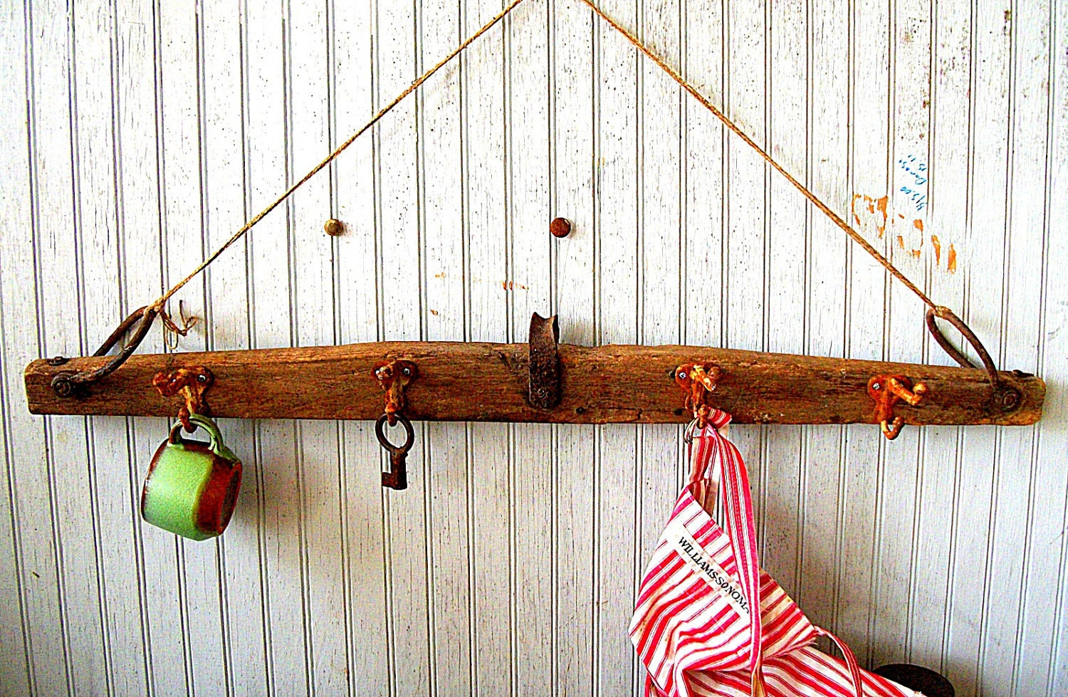 Antique Hook Rack made from a Farm Yoke - VintageHomeShop