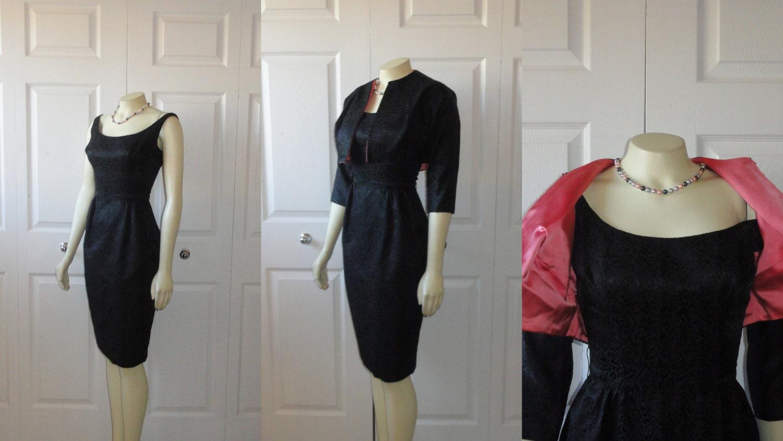 Vintage Dress & Jacket 50s 60s Black Brocade Wiggle Sheath Metal Zipper Pink Satin Lining XS S Extra Small to Small