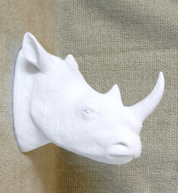 items similar to white rhino head white faux taxidermy rhino wall mount modern home decor. Black Bedroom Furniture Sets. Home Design Ideas