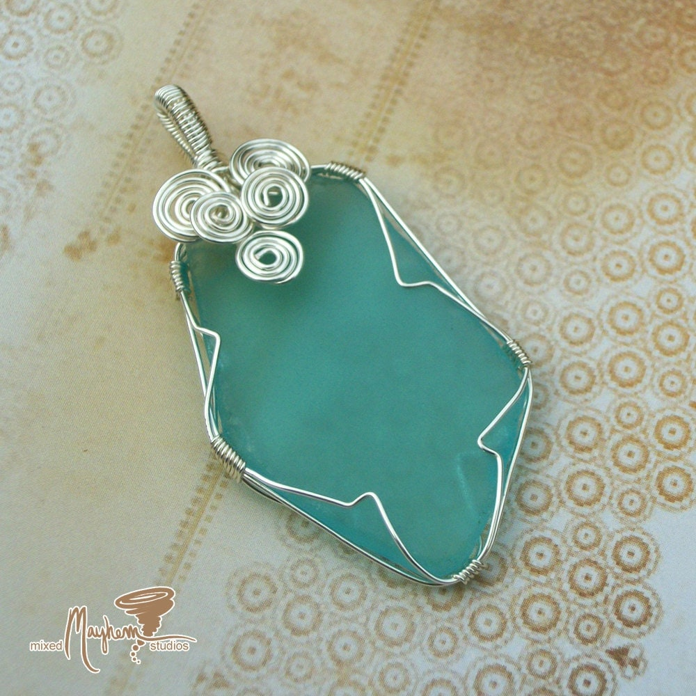 Pendant Wire Wrapped in Recycled - Upcycled Glass in Silver