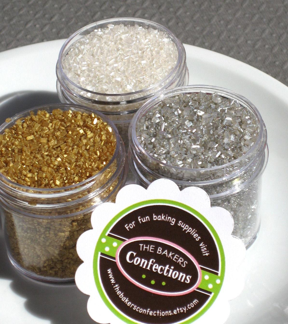 Itty Bitty Silver and Gold Crystal Sugar Kit - 3 mini jar pack (1 oz jars)