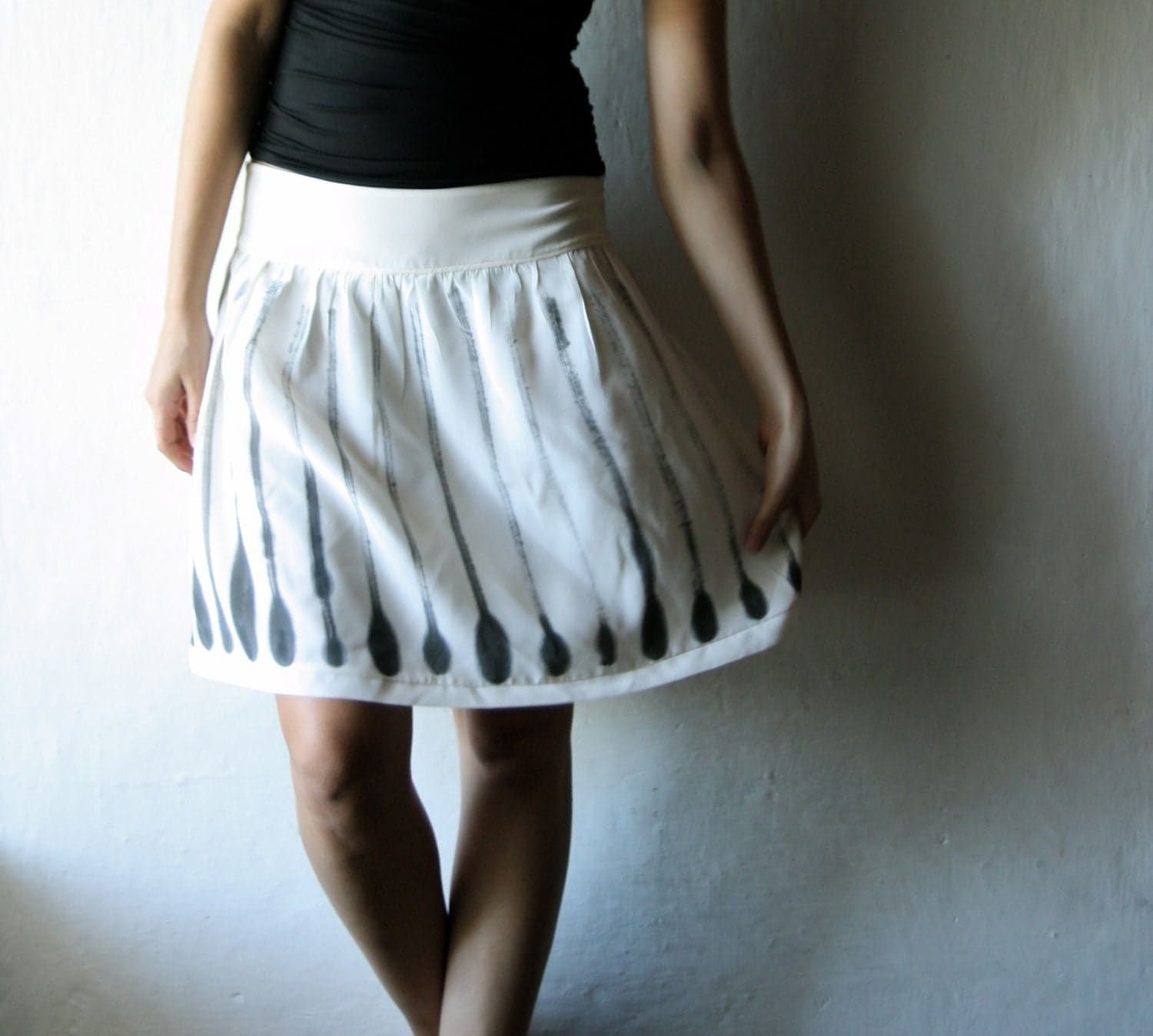 Handpainted Silk Skirt - knee length womens gathered ivory silk skirt