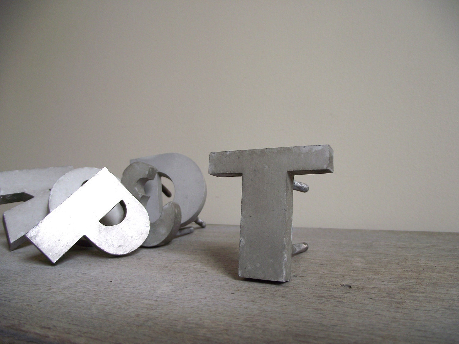 Vintage Metal Sign Initial Letter T Industrial Solid Aluminum - gazaboo