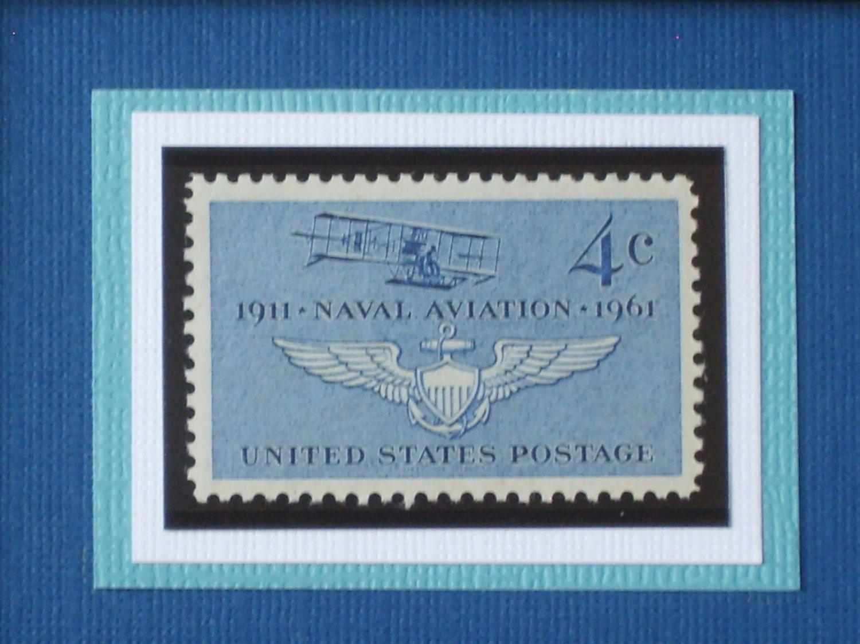 Naval Aviation - Vintage Framed Postage Stamp - No. 1185 - RedBeansnRice