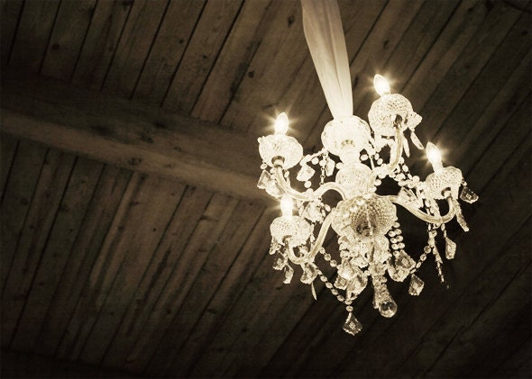 5x7 Vintage Chandelier Elegant Rustic Brown Cream Wedding Print - opus81