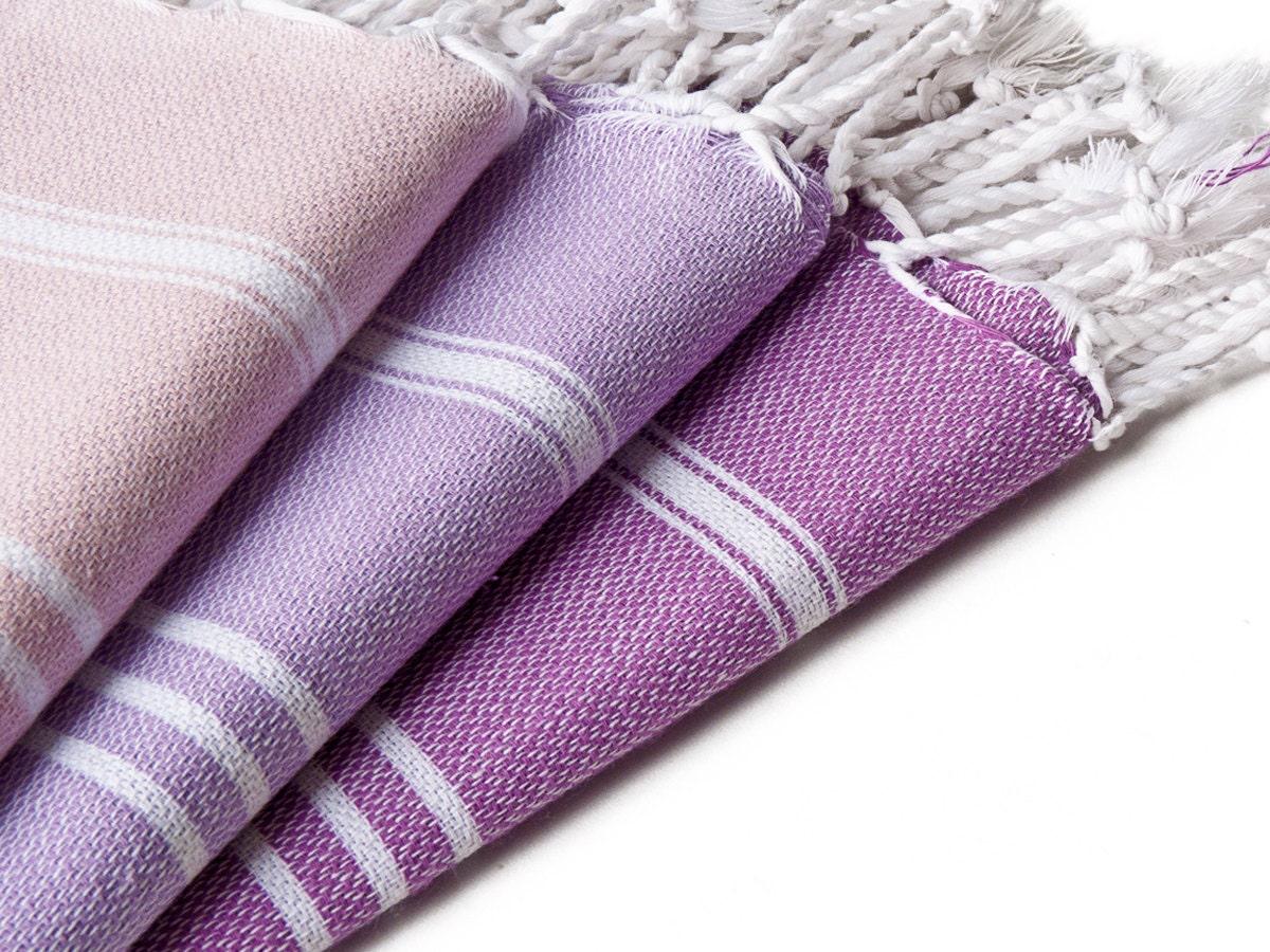 Set of 3 - Tea Towel Pestemal, All Purples