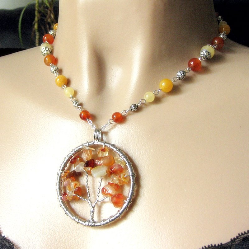 Autumn Tree of Life Necklace in Carnelian Gemstones and Jade