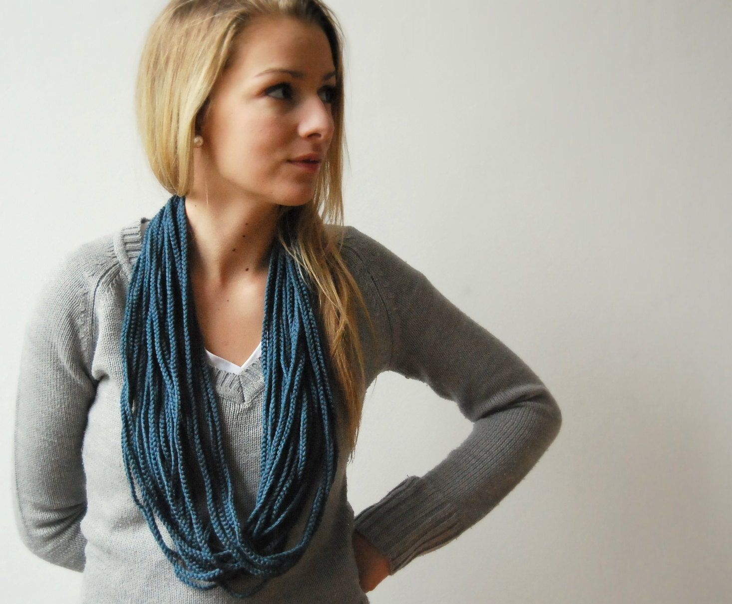 FREE SHIPPING - Crocheted Infinity Scarf in Colour of Stormy skies - SweetWhiteSheep