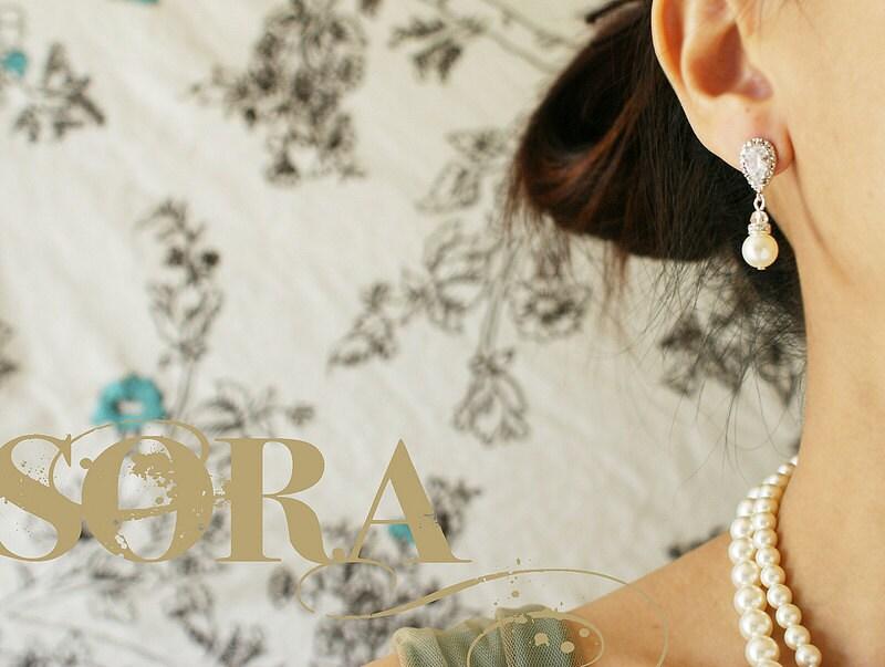 Bridal pearl dangle earrings teardrop Zirconia diamond like stone rhinestone pearl wedding jewelry