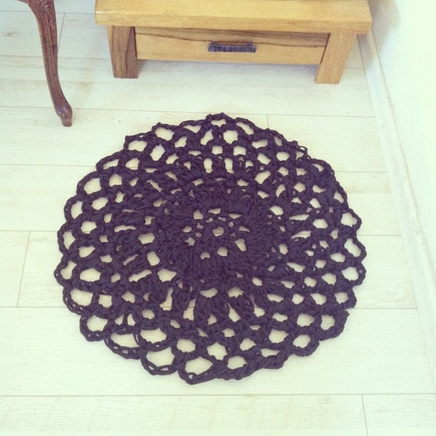 Dark lace Doily Rag Rug Crochet