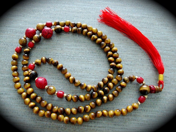 Yogibead Tigereye & Red Magnesite Prayer Bead Mala With 10K Gold Accents