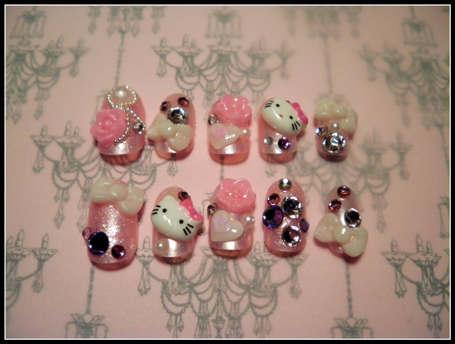 nails designs with bows hello kitty Hello Kitty 3d Nail Art  pic