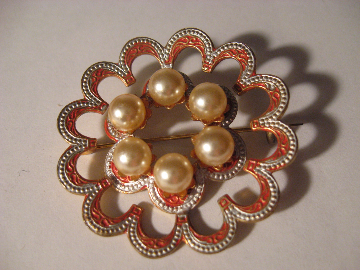 Vintage 1940s Antique Gold Gilt Silver & Enamel DAMASCENE Floral Brooch PIN w PEARLS Made in Spain