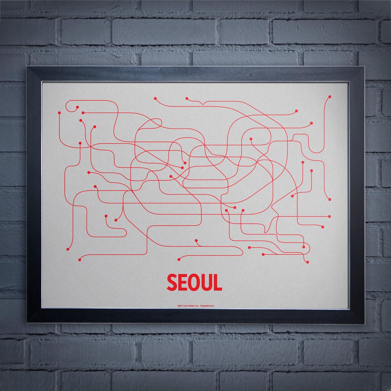 Seoul Screen Print - Light Gray/Red