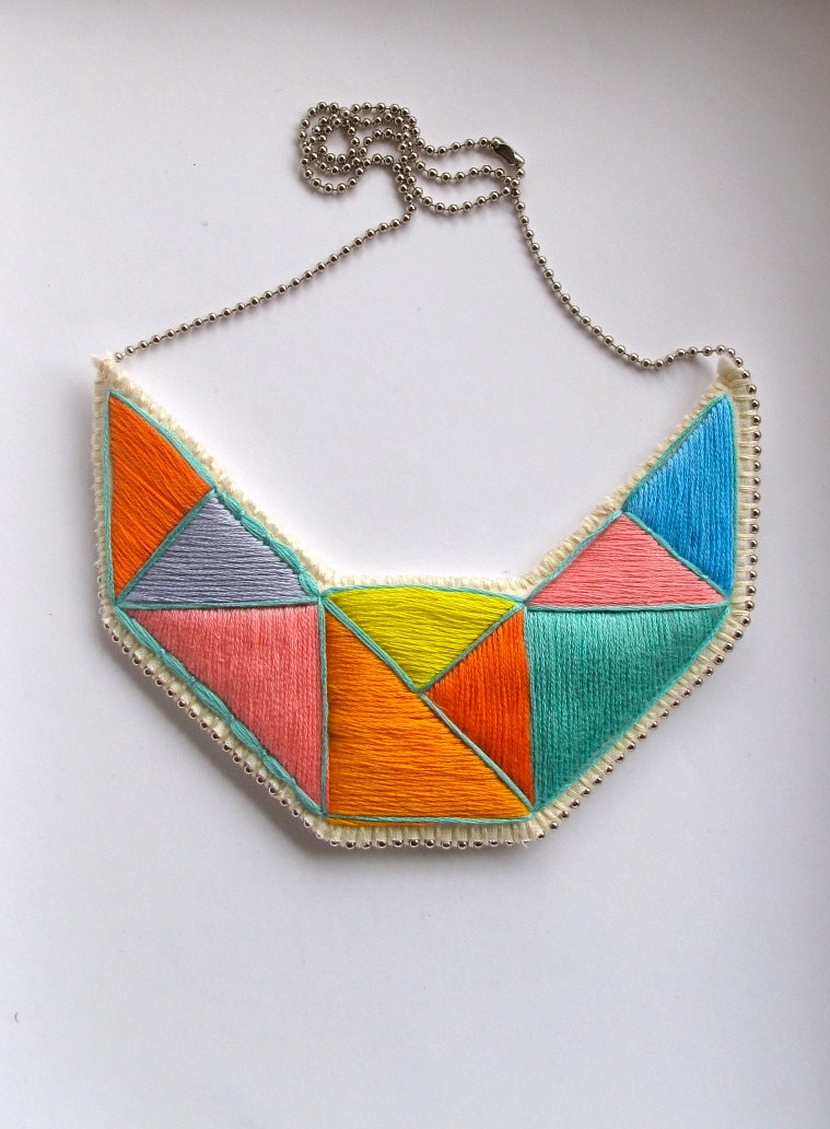 Geometric statement necklace embroidered  bib in mint bright yellow pink blue lavender and orange embroidered triangles dramatic design - AnAstridEndeavor