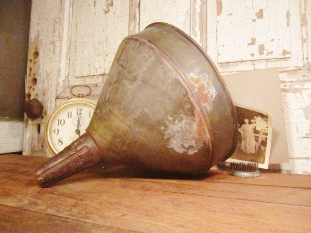 Galvanized Farmhouse Funnel - Large Metal Dairy Milk Strainer