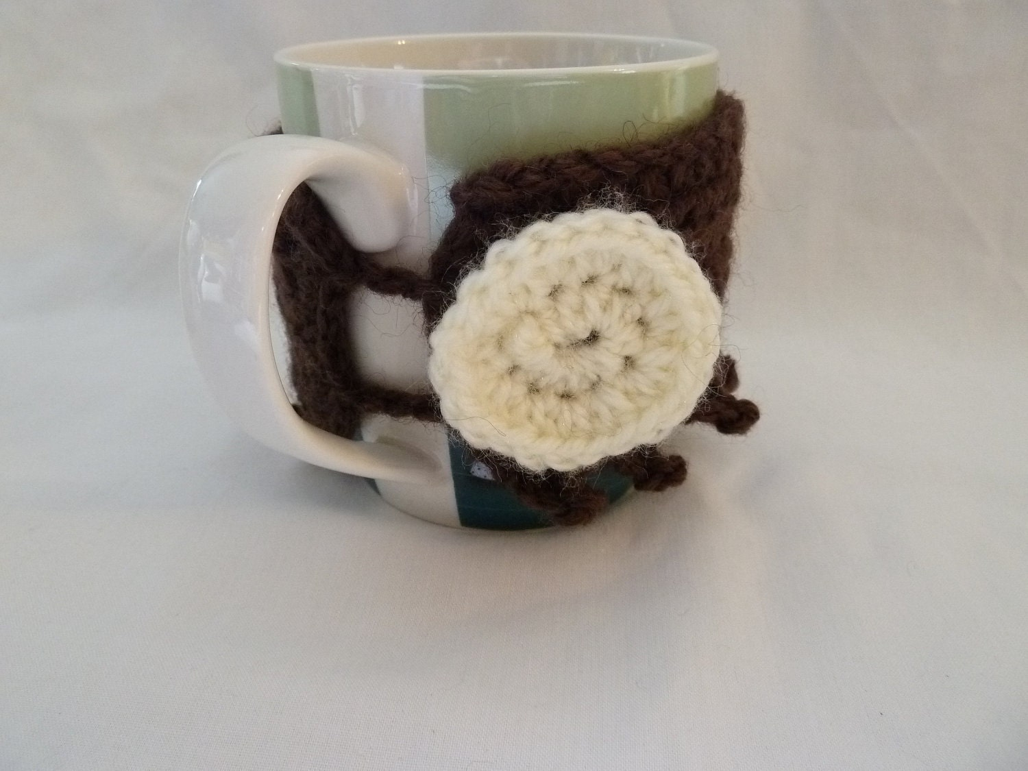 Crocheted Tea and Coffee Mug Cosy in Chocolate Brown with Vanilla Cookie Button - Crochet - Cozy - Warmer - Sleeve