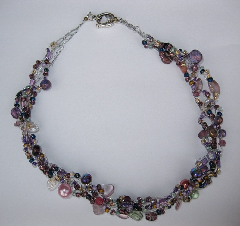 Crocheted Necklace--purples