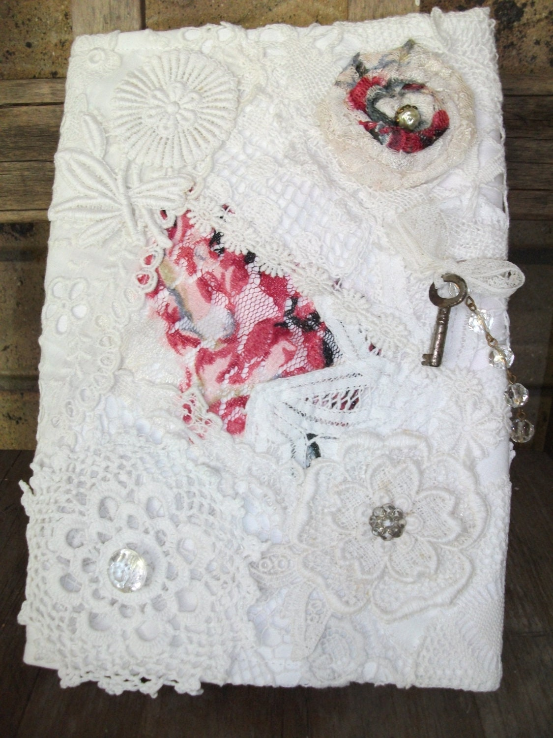 Repurposed Romantic Vintage White Lace Journal Cover, Includes Hardcover Journal, Ooak